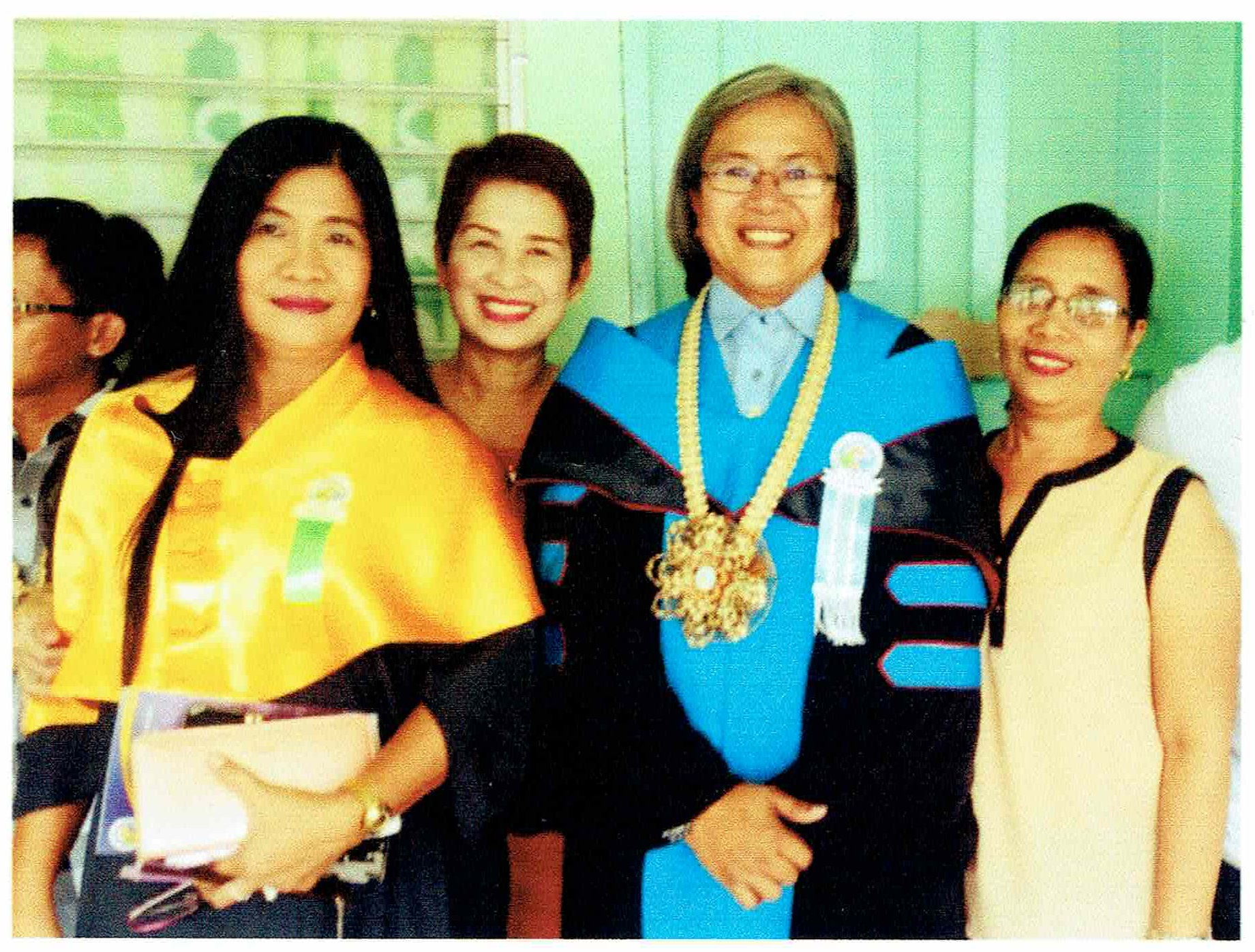 <em>Col. Gernale (above, center) with high school classmates Ms. Marife Glomar (right), Prof. Corazon Bongalosa and Ms. Mariesusan Caudilla of Bulan Campus</em>
