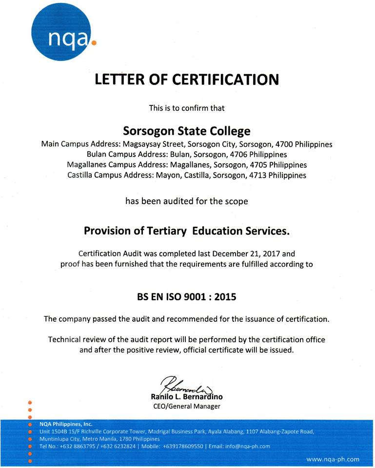 NQA CERTIFICATION LETTER